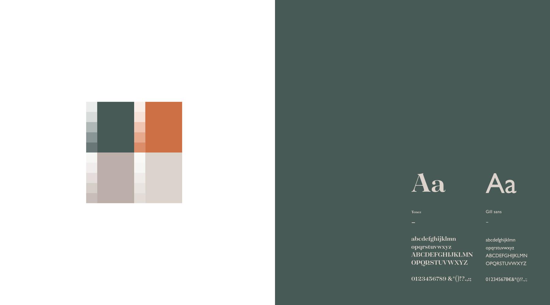 Teintes et typographie logo Marc Van Espenhoudt